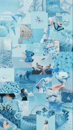 Cute Blue Wallpaper, Cute Patterns Wallpaper, Cute Disney Wallpaper, Pastel Wallpaper, Blue Wallpapers, Pretty Wallpapers, Collage Mural, Wallpaper Collage, Iphone Wallpaper Tumblr Aesthetic