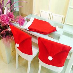 New Santa Red Hat Chair Covers Christmas Party Decor Dinner Chair Xmas Cap Sets