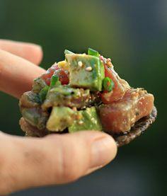 Tuna tartare from barefoot contessa family style cookbook. Tuna Sushi Recipe, Tuna Tartare Recipe, Fish Recipes, Seafood Recipes, Asian Recipes, Healthy Recipes, Yummy Appetizers, Appetizer Recipes, Food Network Recipes