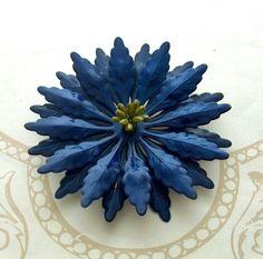 Vintage 1960s Enamel Brooch Pin Navy Blue Flower metal yellow petal | BeauMonde - Jewelry on ArtFire
