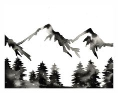 Print of Original Watercolor . The Wild . Forest Mountain Painting Print . Black White Monochrome Art