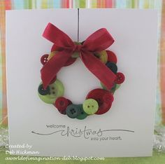 button christmas cards | Deb Hickman of A World of Imagination's Buttoned Up challenge card