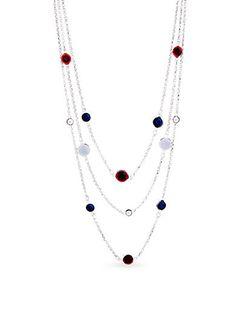 37b4540ecd39 Kim Rogers® Silver-Tone Americana Multistrand Necklace