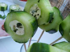 Apéro : les sucettes de concombre au coeur kiri