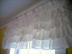 White Ruffled Valance by PaulaAndErika on Etsy, $55.00-cute for the girls' room