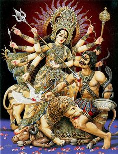 About the goddess Durga, one of the most powerful deities in Hinduism. Discover the meaning of the mother goddess' many symbols. Hindu Art, Kali Goddess, Mother Goddess, Divine Mother, Durga Maa, Shiva Shakti, Kali Hindu, Shri Hanuman, Tree Of Life