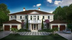 Front Elevation Custom Home design by John Balistreri in Boca Raton.