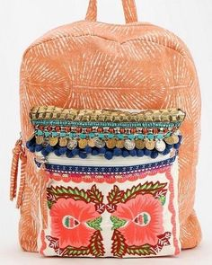 ESCOTE' Peachy Pink Embroidered with Gypsy Coins Pom Poms Bronze Aqua Boho Beads Backpack  #ESCOTE #UrbanOutfitters #Backpack  EUC $49.99 Free Ship!