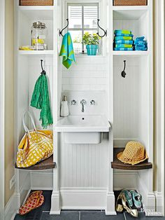 This mighty fine design expands utility in guest and kids' bathrooms, pool house dressing areas, and often-used powder rooms. Built-in stalls provide shelves for storing towels and toiletries, hooks for hanging clothes, and small bench seats. The benches create cubbies below, which are meant to keep kicked-off flip-flops and tennies out of traffic paths.
