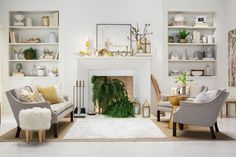 Carefully placed touches of gold used in this living room — candleholders, fabrics, frames, furniture, dipped candles and bowls — instantly create a glamorous space. Incorporate a non-working fireplace into the sophisticated look by placing battery-operated lights behind plants like ferns.