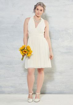 Set in Your Sways Dress in Ivory by ModCloth - Prom, Party, Graduation, Empire, Sleeveless, Summer, Chiffon, Best, Exclusives, Private Label, Halter, Woven, Long, White, Bride, Variation