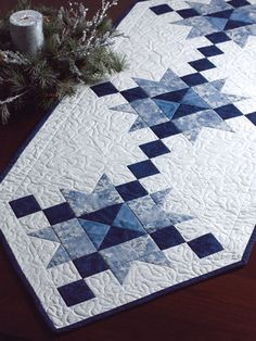 Pieced Table Topper Patterns - Ice Crystals Table Runner Pattern