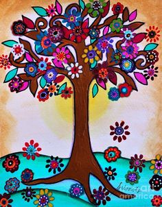 Blooming Trees, Blooming Flowers, Painting For Kids, Art For Kids, Trees For Kids, Tree Of Life Art, Mexican Folk Art, Fine Art America, Whimsical