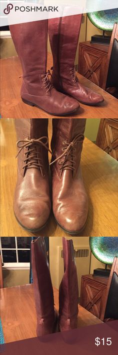 Liz Claiborne brown riding boots Well loved and in good used condition. It does not say if leather or man made. Feels and looks like leather. Very soft and comfortable. Some flaws on heels as seen in pictures. Priced as well loved. Still lots of life left. Liz Claiborne Shoes Lace Up Boots