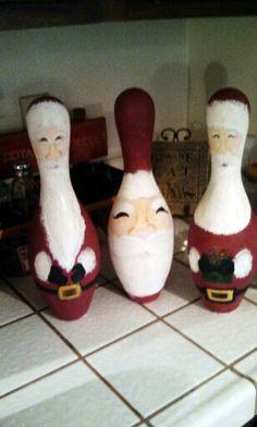 Santa bowling pins