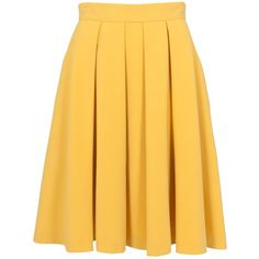 French Connection Feather Flared Skirt, Citronella (£50) ❤ liked on Polyvore featuring skirts, bottoms, faldas, gonne, circle skirt, flared skirt, flare skirt, skater skirt and pleated skater skirt