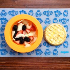 Breakfast today is a waffle with half a mashed peach and cream cheese and a fruit bowl with blackberries, strawberries and shaved apple. I noticed 3 molars and a canine coming in... these next few weeks will be quite eventful!   #blw #babyledweaning #blwideas #hendrixeats #kidfood #feedfeed #kiddos #healthykids #healthyfood #breakfast #fruitsalad #fruit #produceforkids #waffle #toddlerfood #toddlers #food #EEEEEats #delicious #superhealthykids #15months #1yearold