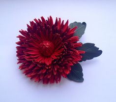 Red leather flower brooch, Red flower, Handmade flower brooch, Mother of the bride flower, Mothers Day gift, Grooms corsage, Bridesmaids pin