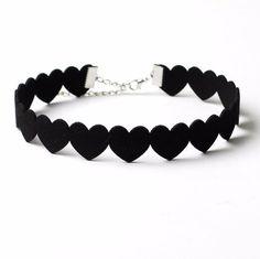 Black Lace Choker Heart Necklace