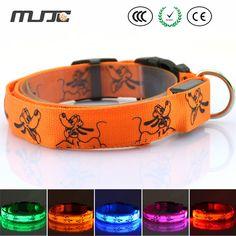 MJJC 2015 LED Lichtgevende Hond Kraag Hals met Medium en Grote Flash Halsbanden voor Hond Kat S/M/L/Size verstelbare