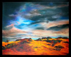 Stormy Mountain Painting 16x20 Fine Art Canvas by MaryElizabethArts