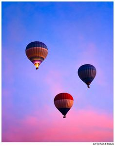 Hot Air Balloons at Dawn Flying Over Egypt Art Print by Mark E Tisdale