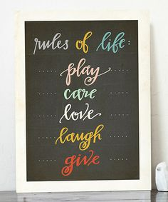 Look what I found on #zulily! 'Rules of Life' Print by Fresh Words Market #zulilyfinds