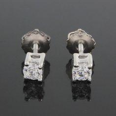 VVS1 0.66ct Round Solitaire Stud Earrings Platinum Screw Back 079R #Stud