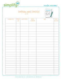 Printable Birthday Party Checklist - Just printed mine and LOVE it! It's perfect for all that has to be done before the big day! ~Lara H.~