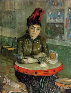 Woman in the 'Cafe Tambourin', 1887,  oil on canvas, 55.5 x 46.5 cm. Van Gogh Museum, Amsterdam, Netherlands. Post-Impressionism, Vincent van Gogh (1853-1890).