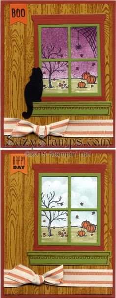 Stampin' Up! Cards - 2015-10 Class - Halloween, Thanksgiving card, Happy Scenes, Festive Fireplace, Banner Banter and Hardwood stamp sets, Festive Fireside Framelits Dies, Hearth & Home Thinlits Dies and Banner Punch