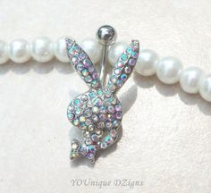 Bellybutton ring stud with cute crystal AB bunny 14gauge 12mm ball