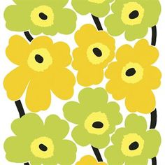 Marimekko Unikko Yellow / Lime PVC Fabric The Unikko Marimekko fabric displays large yellow and lime green poppy flowers with black centers and black stems. This popular pattern was designed by Maija Isola in (See secondary photo for an. Pvc Fabric, Linen Fabric, Cotton Fabric, Textures Patterns, Fabric Patterns, Floral Patterns, Marimekko Fabric, Fabric Display, Textiles