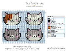 bead embroidery patterns on fabric Bead Embroidery Patterns, Hama Beads Patterns, Peyote Patterns, Beaded Embroidery, Beading Patterns, Stitch Patterns, Beading Ideas, Chat Kawaii, Super Cute Cats