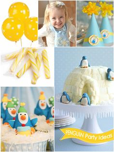 ♥You can even have your own custom themed birthday party! Just remember to buy all of your decorations and set them up an hour before your party starts! 5th Birthday Party Ideas, First Birthday Parties, First Birthdays, Penguin Birthday, Penguin Baby, Penguin Cakes, Flamingo, Party Time, Polo