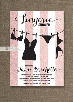 {Dawn} Pink & Black Lingerie Shower Invitation Pink by digibuddhaPaperie, $20.00 https://www.etsy.com/listing/174904678/pink-black-lingerie-shower-invitation