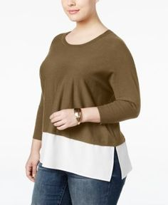 Style & Co Plus Size Layered-Look Sweater, Only at Macy's -