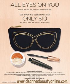 Don't miss out on this special offer! Get the Limited Edition All Eyes On You Set that includes SuperExtend Nourishing Macara in l, Anew Clinical Eye Lift Dual Eye System, and a Cosmetic Bag, a $46 value, for just $10 with your $40 purchase at www.deannasbeautyonline.com. Available on my eStore until 6/27/17 or while supplies last. #specialoffer #avon #beauty #eyecream #mascara