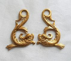 Two raw brass stampings, ornate, art nouveau, stylized fish, ornaments, pendants, charms, earrings, 43mm x 35mm, made in the USA C69202