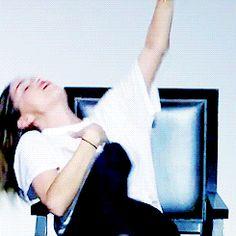 Shelley Hennig dancing in her chair