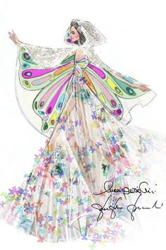 Valentino unveils the sketch of the bespoke stage costume designed for Katy Perry's Prismatic world tour.
