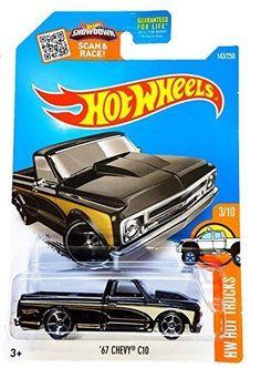 Amazon.com: Hot Wheels, 2016 HW Hot Trucks, '67 Chevy C10 [Black] Die-Cast Vehicle #3/10 by Hot Wheels: Toys & Games