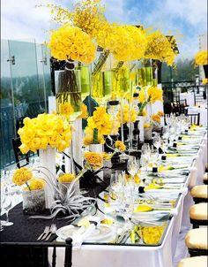 wedding tablescape-modern, gorgeous yellow centerpieces #wedding #tablescape