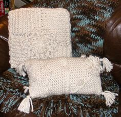 Chunky, Winter White Pillows w/ Flowers. So soft. Long & Round Loom.