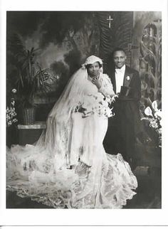 "blackhistoryalbum: ""FOR BETTER OR WORSE Formal studio wedding portrait of an African American bride and groom. "" Wow that dress Vintage Wedding Photos, Vintage Bridal, Vintage Weddings, Vintage Photos, Vintage Photographs, Black Weddings, Wedding Pictures, 1930s Wedding, Romantic Weddings"