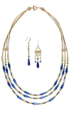 Triple-Strand Necklace and Earring Set with Glass Beads, Gold-Plated Brass Beads and Gold-Plated Components