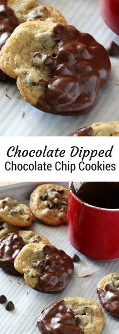 Chocolate Dipped Chocolate Chip Cookies | The best Chocolate chip cookies dipped in rich dark chocolate, best enjoyed with a glass of milk. | Christmas cookie recipe ideas | Christmas cookie exchanges or holiday cookie trays | #cookierecipes #christmascookies | #chocolatechipcookies #cookierecipe