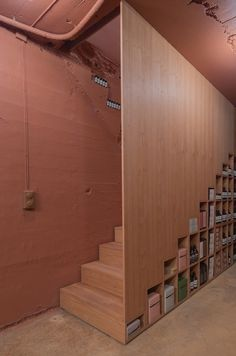 Aesop Homansbyen is a minimal Aesop store located in Oslo, Norway, designed by Snøhetta. Aesop Store, Wooden Partitions, Partition Design, Contemporary Architecture, Retail Design, Minimalism, Stairs, Interior Design, Projects