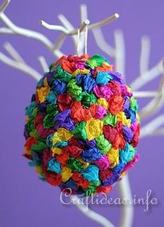 Great ideas, maybe do it with smaller egg shape objects with the boys. large styrofoam egg in size of choice (if this is not available, try using a large plastic or paper mache egg instead) - tissue paper in lots of cheerful colors - craft glue - paper clip for hanging (if using a styrofoam egg)