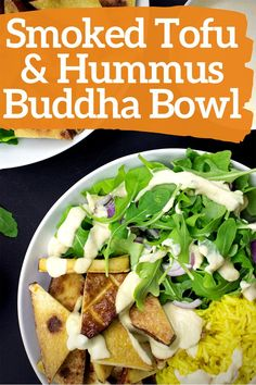 Enjoy this smoky and savory buddha bowl from HurrytheFoodUp! The combination of smoked tofu, hummus, and turmeric rice makes for a perfect vegan lunch (or dinner!) Not only is this recipe delicious, it is quick and easy, and ready in only 15 minutes! #vegan #quickrecipe #lunch #dinner #buddhabowl #tofu #hummus #food Baked Potato Recipes, Veggie Recipes, Vegetarian Recipes, Dinner Recipes, Halloumi Salad, Tofu Breakfast, Quick Recipes, Quick Meals, Buddha Bowl